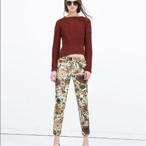 Zara Women Chino Floral Cropped Pants Sz M